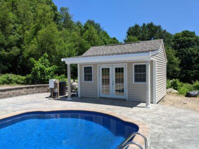 #9 (12' x 16' Vinyl Custom Pool House Shed With 4' Front Overhang)