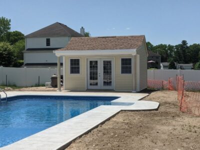 #16 (12' x 16' Vinyl Custom Pool House Shed With 4' Front Overhang)