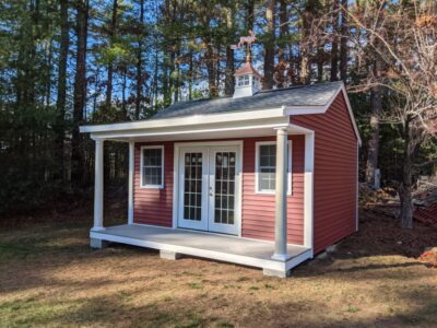(12' x 16' Vinyl Custom Pool House Shed With 4' Front Overhang)