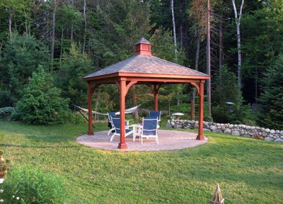 #18 (12' x 12' Wood Pavilion (Stained Mahogany) With Standard 5 x 5 Square Wood Posts)